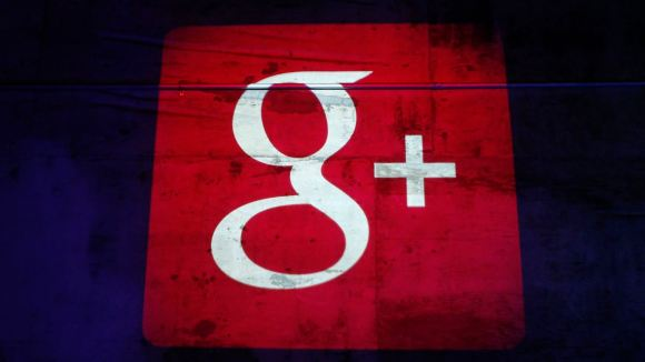 Google Plus logo is projected on to the wall during a Google event in San Francisco