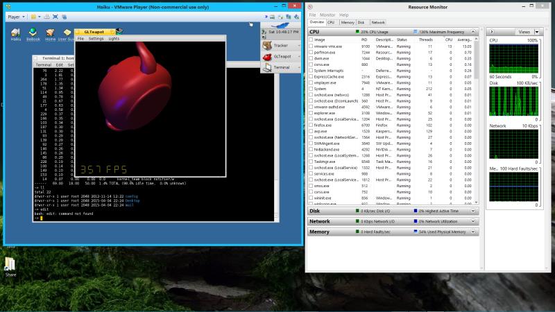 Haiku running in VMware Player on Windows 8.1 host