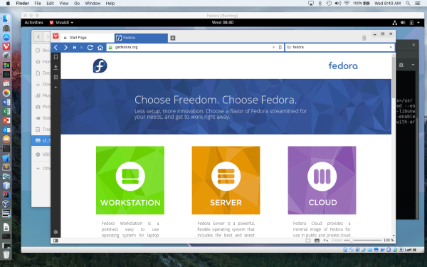 Fedora 24 in VirtualBox on OS X