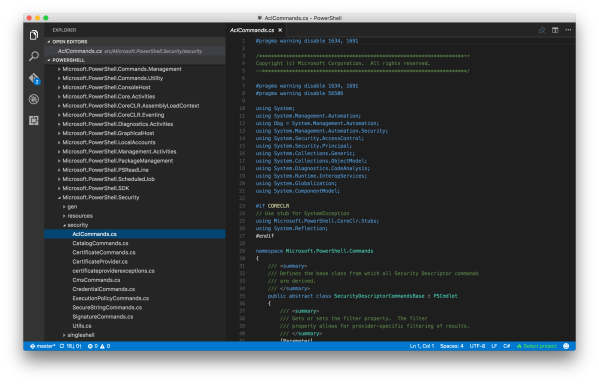 Visual Studio Code in PowerShell Git Repository